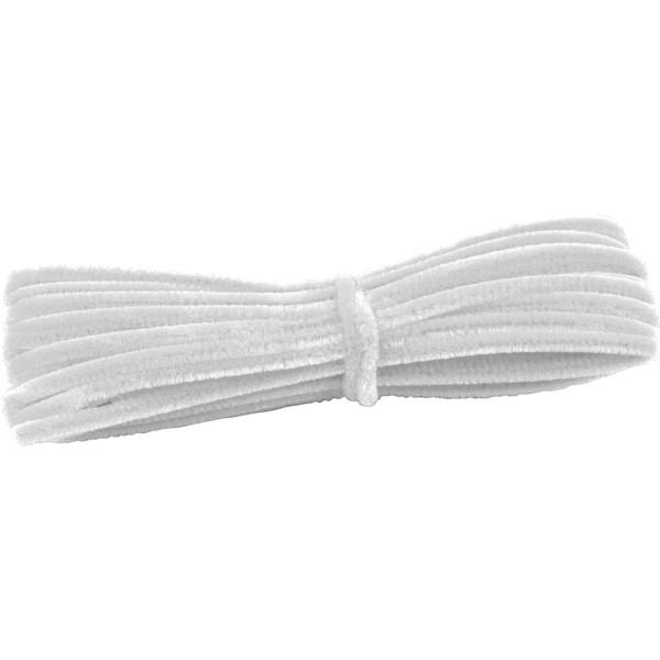 Grube, włochate druty szenilowe 12,5 m - białe