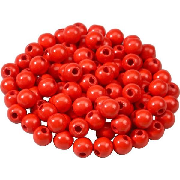 Korale z drewna - czerwony 100 sztuk